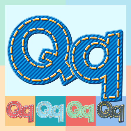 optional: Vector jeans alphabet. Optional colorful graphic styles. Letter Q
