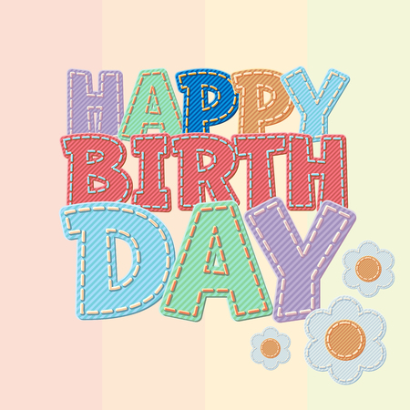 Vector colorful jeans text Happy birthday