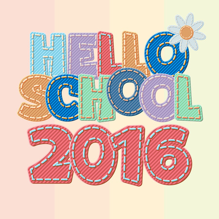 intermediate: Vector colorful jeans text Hello school 2016