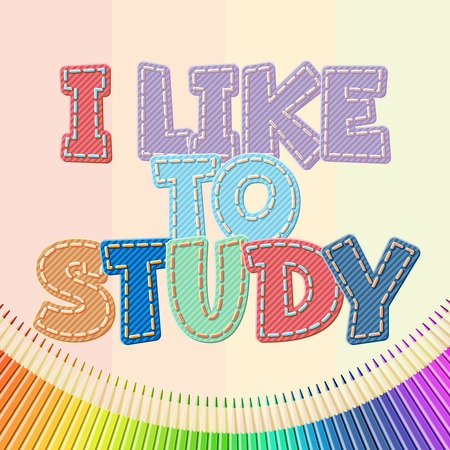Vector colorful jeans text I like to study 일러스트