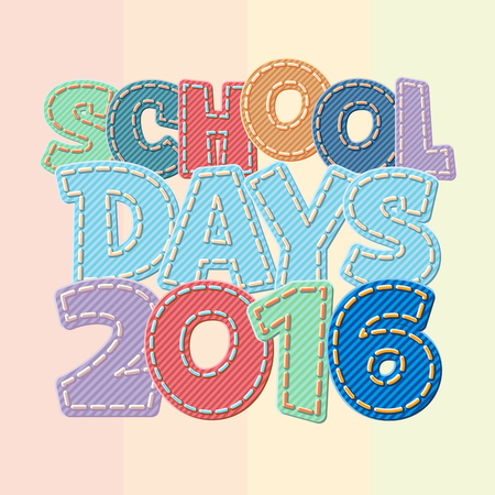 intermediate: Vector colorful jeans text School days 2016 Illustration