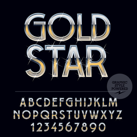gold silver: Silver and gold glossy vector set of letters, symbols and numbers