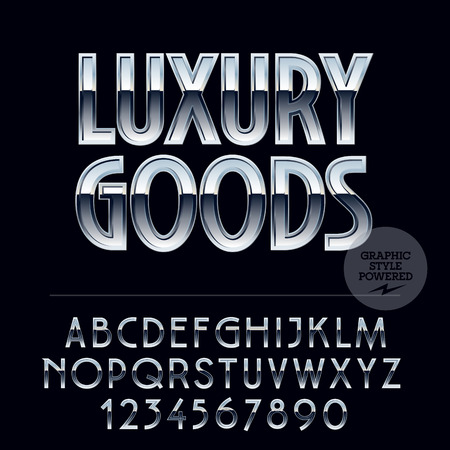 platinum: Silver chic glossy vector set of letters, symbols and numbers