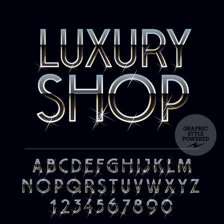 Silber dunkel glänzend Vektor-Set von Buchstaben, Symbole und Zahlen Standard-Bild - 63722620