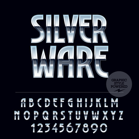 Silver glossy vector set of letters, symbols and numbers