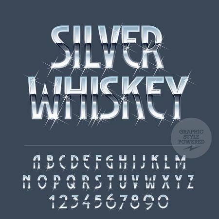 cromo: Plata brillante conjunto de vectores de reflexión de letras, símbolos y números