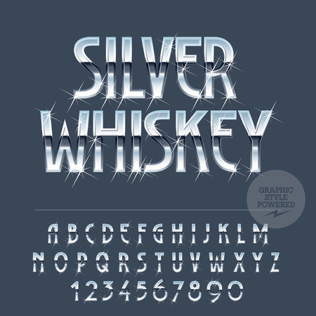 Silver sparkling reflective vector set of letters, symbols and numbers Illustration