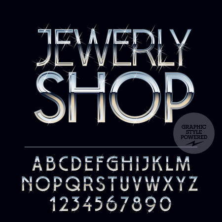 Silver luxury glossy vector set of letters, symbols and numbers