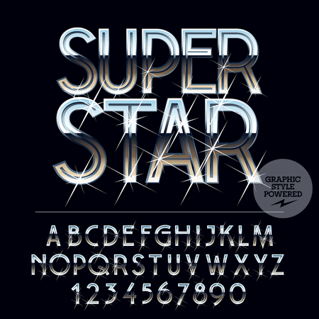 platinum: Silver sparkling glossy vector set of letters, symbols and numbers Illustration