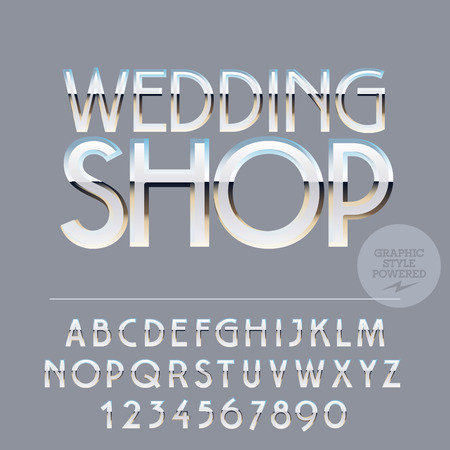 Silver and white glossy vector set of letters, symbols and numbers Illusztráció