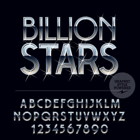 Silver sparkling glossy vector set of letters, symbols and numbers Illustration
