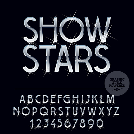platinum: Silver glossy vector set of letters, symbols and numbers with sparkles Illustration