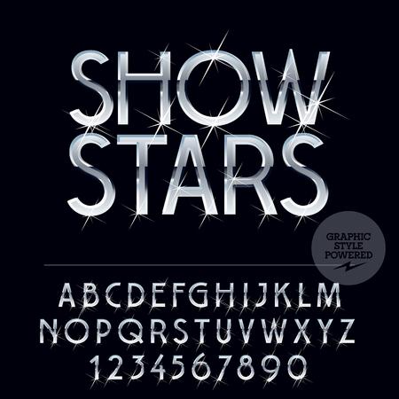 famosos: Vector brillante de plata conjunto de letras, símbolos y números con destellos