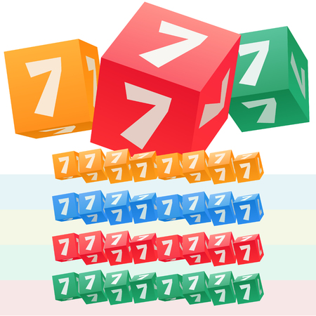 symbol. punctuation: Vector set of children cube alphabet. Optional colorful graphic styles. Number 7