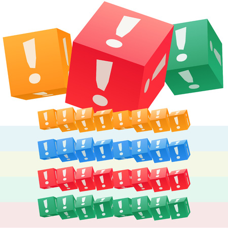 Vector set of children cube alphabet. Optional colorful graphic styles. Symbol Illustration