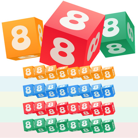 optional: Vector set of children cube alphabet. Optional colorful graphic styles. Number 8