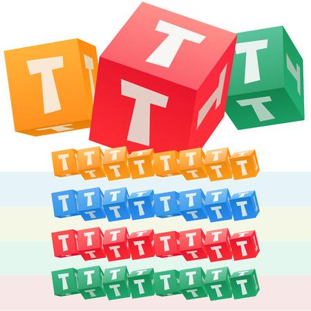子供キューブ アルファベットのベクトルを設定します。オプションのカラフルなグラフィック スタイル。文字 T