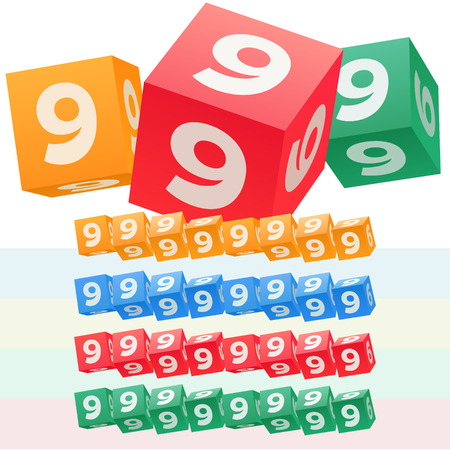 optional: Vector set of children cube alphabet. Optional colorful graphic styles. Number 9