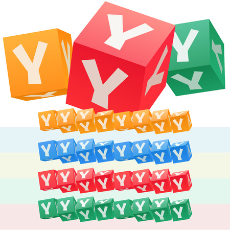 Vector set of children cube alphabet. Optional colorful graphic styles. Letter Y