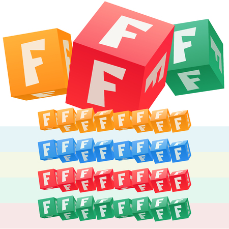 Vector set of children cube alphabet. Optional colorful graphic styles. Letter F