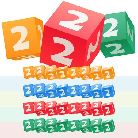 子供キューブ アルファベットのベクトルを設定します。オプションのカラフルなグラフィック スタイル。数 2  イラスト・ベクター素材