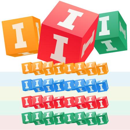 子供キューブ アルファベットのベクトルを設定します。オプションのカラフルなグラフィック スタイル。私を手紙します。