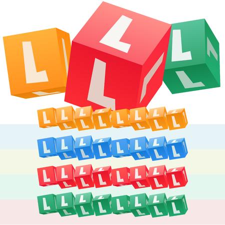 子供キューブ アルファベットのベクトルを設定します。オプションのカラフルなグラフィック スタイル。文字 L