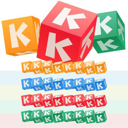子供キューブ アルファベットのベクトルを設定します。オプションのカラフルなグラフィック スタイル。手紙 K