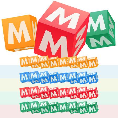 symbol. punctuation: Vector set of children cube alphabet. Optional colorful graphic styles. Letter M