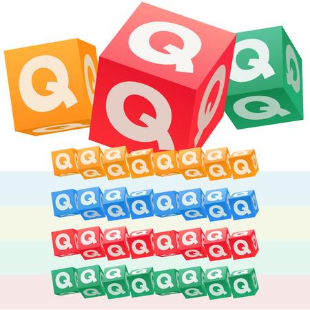 Vector set of children cube alphabet. Optional colorful graphic styles. Letter Q