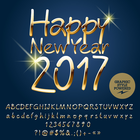 Vector beautiful Happy New Year 2017 greeting card with set of letters, symbols and numbers. File contains graphic styles
