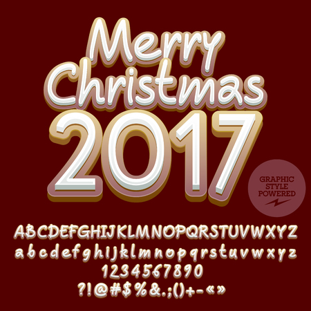 Vector cookie Merry Christmas 2017 greeting card with set of letters, symbols and numbers. File contains graphic styles