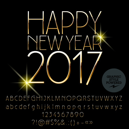 Vector golden Happy New Year 2017 greeting card with set of letters, symbols and numbers. File contains graphic styles