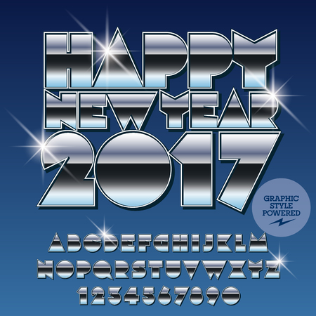 Vector silver Happy New Year 2017 greeting card with set of letters, symbols and numbers. File contains graphic styles Illustration
