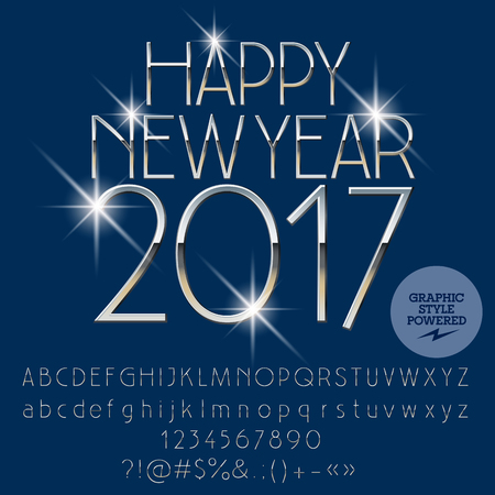 Vector luxury silver Happy New Year 2017 greeting card with set of letters, symbols and numbers. File contains graphic styles