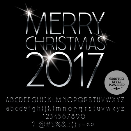 Vector silver Merry Christmas 2017 greeting card with set of letters, symbols and numbers. File contains graphic styles Illustration