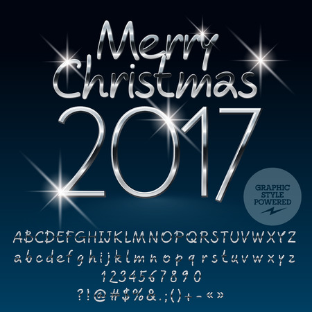 Vector silver bright Merry Christmas 2017 greeting card with set of letters, symbols and numbers. File contains graphic styles Illustration