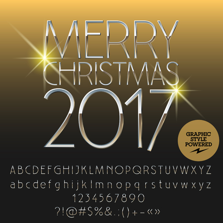 Vector silver shiny Merry Christmas 2017 greeting card with set of letters, symbols and numbers. File contains graphic styles Illustration