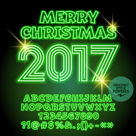 fluorescent lights: Vector light up Merry Christmas 2017 greeting card with set of letters, symbols and numbers. File contains graphic styles Illustration