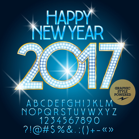 lightbulbs: Vector luxury light up Happy New Year 2017 greeting card with set of letters, symbols and numbers. File contains graphic styles Illustration