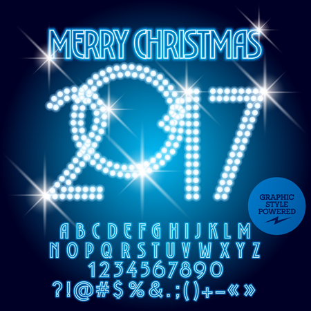 Vector blue light up Merry Christmas 2017 greeting card with set of letters, symbols and numbers. File contains graphic styles