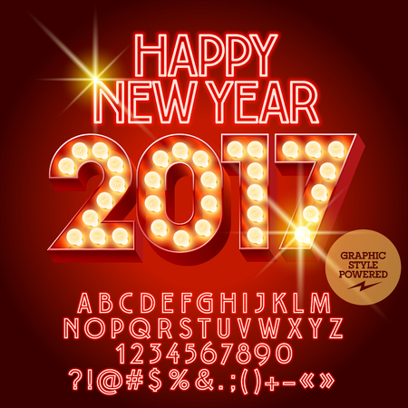 Vector light up Happy New Year 2017 greeting card with set of letters, symbols and numbers. File contains graphic styles Ilustração