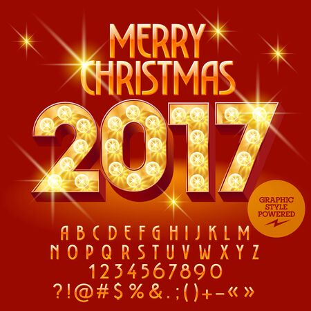 Vector light up bright Merry Christmas 2017 greeting card with set of letters, symbols and numbers. File contains graphic styles Ilustração