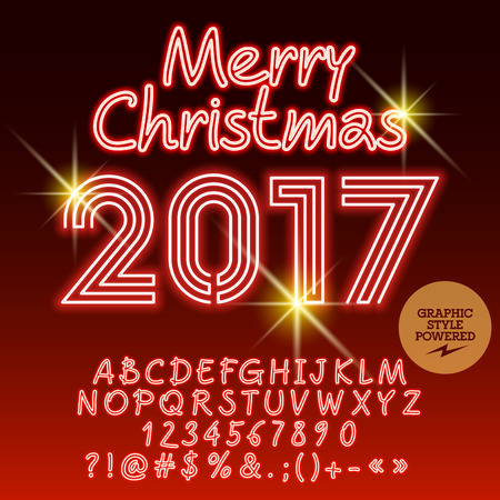 Vector light up merry christmas 2017 greeting card with set of vector vector light up merry christmas 2017 greeting card with set of letters symbols and numbers file contains graphic styles m4hsunfo