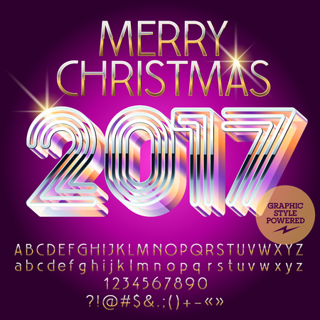 Vector silver glamour Merry Christmas 2017 greeting card with set of letters, symbols and numbers. File contains graphic styles Illustration