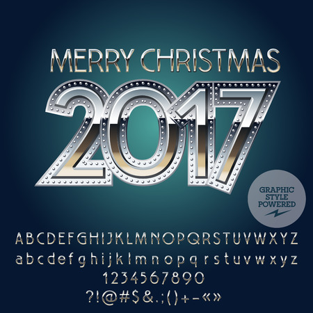 Vector metallic Merry Christmas 2017 greeting card with set of letters, symbols and numbers. File contains graphic styles Иллюстрация