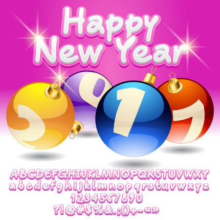 typo: Vector bright Happy New Year 2017 greeting card with set of letters, symbols and numbers