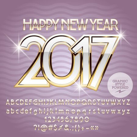 Vector elegance Happy New Year 2017 greeting card with set of letters, symbols and numbers. File contains graphic styles