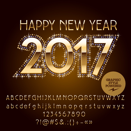 vector chic glitter happy new year 2017 greeting card with set royalty free cliparts vectors and stock illustration image 68223637