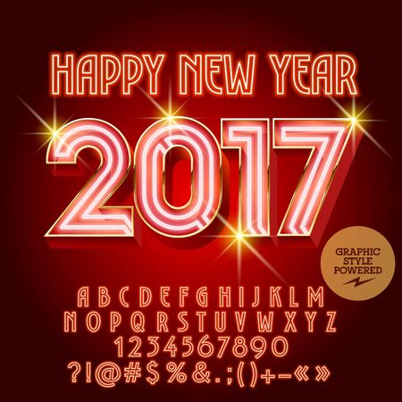 luxuries: Vector luxury neon Happy New Year 2017 greeting card with set of letters, symbols and numbers. File contains graphic styles Illustration